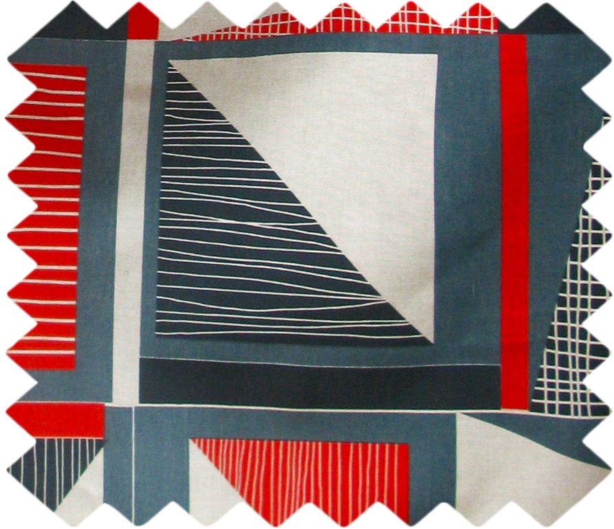 Abstract Square Swatch: Red, Navy, Blue
