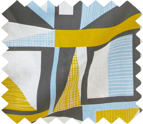 Abstract Square Swatch: Yellow, Blue, Grey