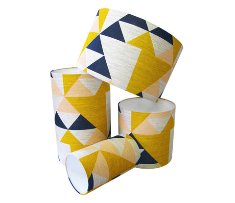 Aztec Lampshade: Pink, Blue, Mustard