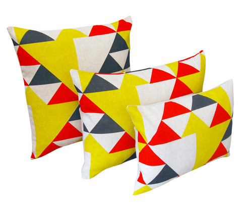 Aztec Cushion: Red, Blue, Yellow