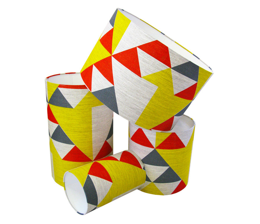 Aztec Lampshade: Red, Blue, Yellow