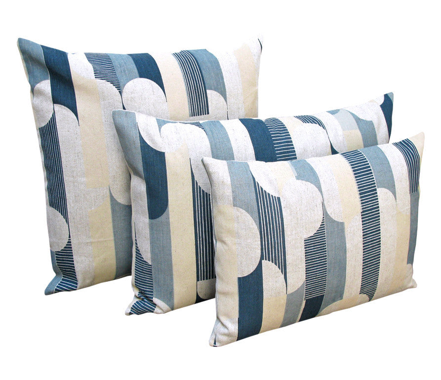 Curved Stripe: Blue, Navy, Taupe