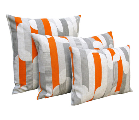Curved Stripe: Orange, Grey, Grey