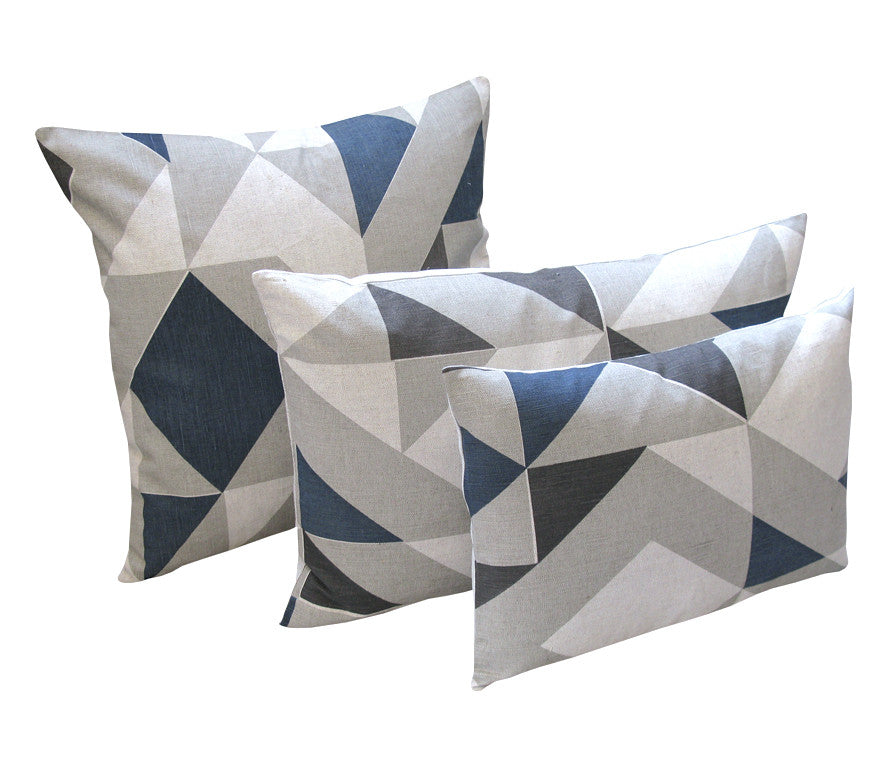 Plane Curve Cushion: Blue, Charcol, Grey