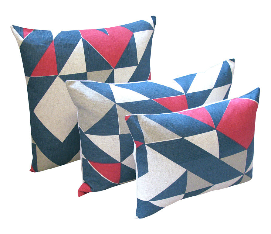 Plane Curve Cushion: Pink, Grey, Blue