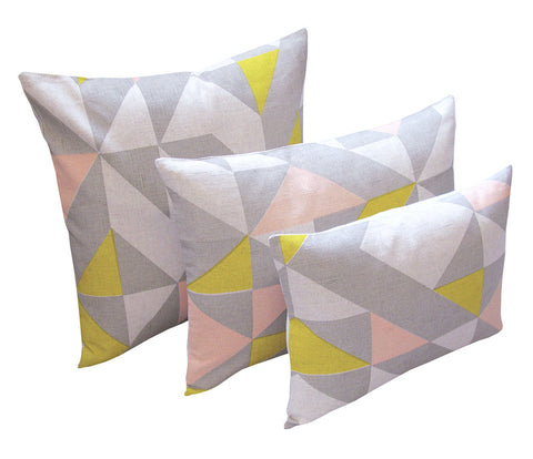 Plane Curve Cushion: Pink, Yellow, Grey