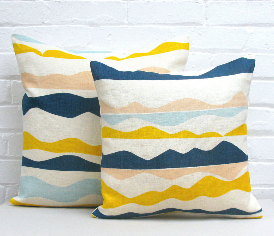 Rik Rak Cushion: Pink, Blue, Yellow, Navy