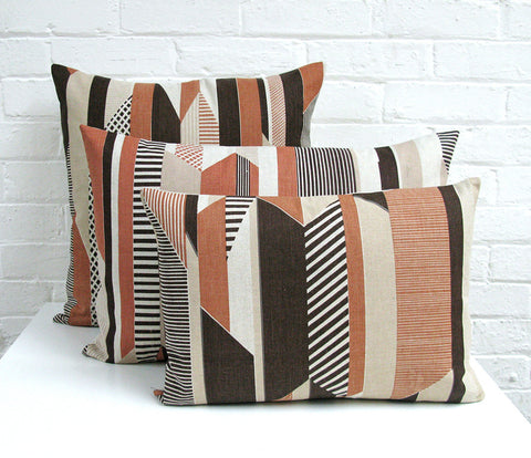 Textured Stripe Cushion: Brown, Terracotta, Taupe