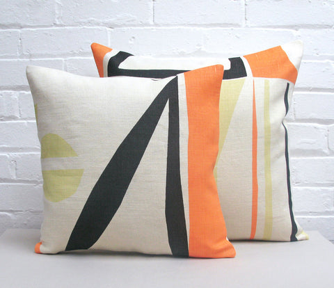 Slice Cushion: Salmon, Slate, Yellow