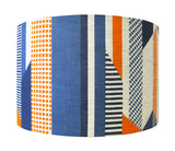 Textured Stripe Lampshade: Blue, Navy, Orange
