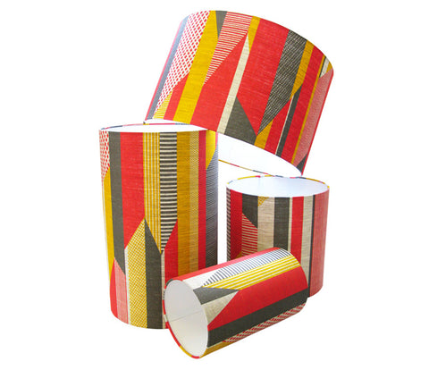 Textured Stripe Lampshade: Pink, Grey, Yellow