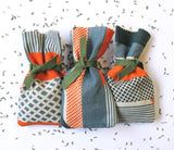 Textured Stripe Lavender Bag: Blue, Green, Orange