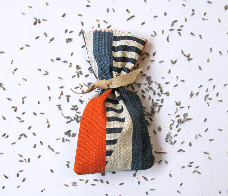 Textured Stripe Lavender Bag: Blue, Navy, Orange