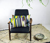 Textured Stripe Cushion: Aubergine, Teal, Lime
