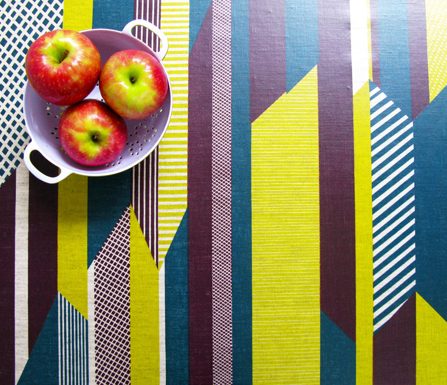 Textured Stripe: Aubergine, Lime, Teal