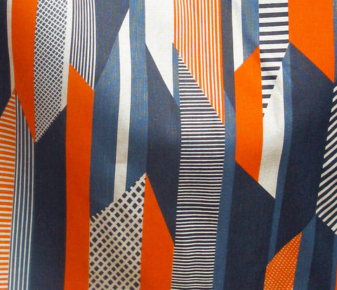 Textured Stripe: Blue Navy Orange