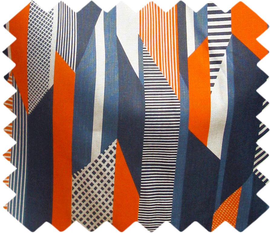 Textured Stripe Swatch: Blue, Navy, Orange