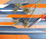 Textured Stripe: Blue, Navy, Orange