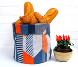 Textured Stripe Soft Pots: Blue Navy Orange