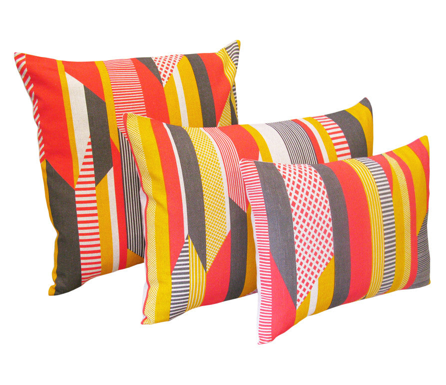 Textured Stripe Cushion: Pink, Grey, Yellow