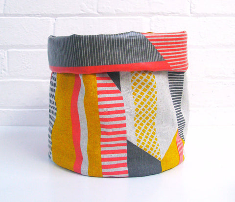 Textured Stripe Soft Pots: Pink Grey Yellow