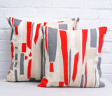 Topsy Turvy Cushion: Red, Light Grey, Grey