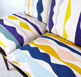 Rik Rak Cushion: Purple, Yellow, Teal, Grey