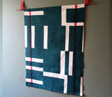 French Linen Overprinted Forest Green Block: Wallhanging