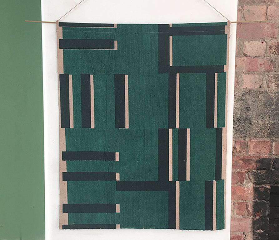 Kasbar Hessian Wallhanging: Green and Navy