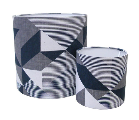 Limited Edition. Grey, Navy and White Trigonometry Lampshade