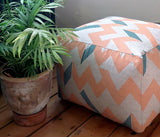 Peach and Teal Snakes and Ladders Pouffe