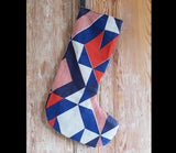 Red Trigonometry Christmas Stocking