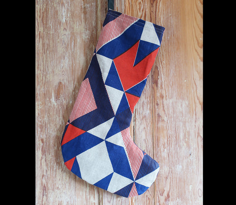 Red Trigonometry Christmas Stocking with Yellow and Grey Lining