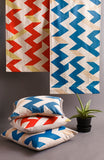 Zig Zag: Blue and Peach