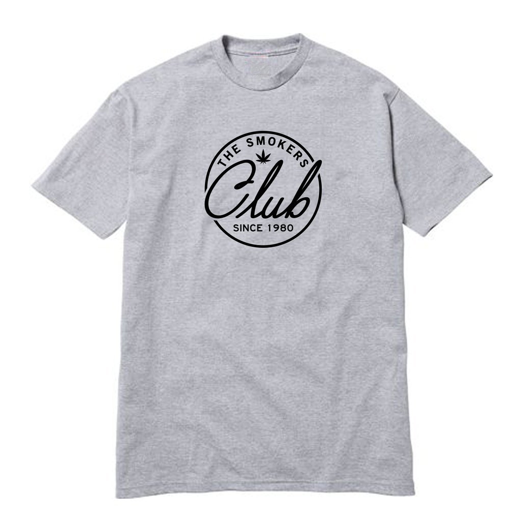Grey Tee with Black Smoker's Club Logo