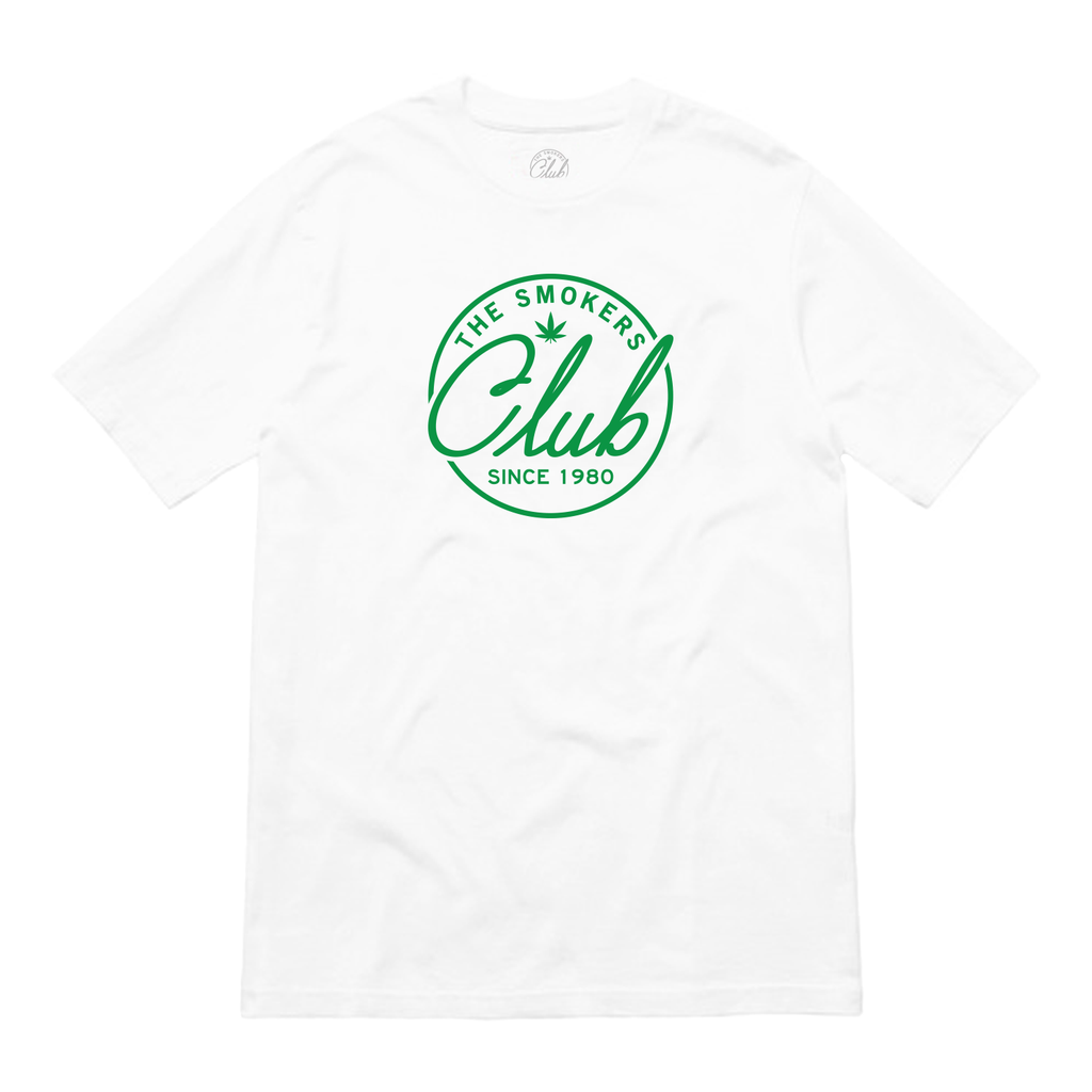 White Tee with Green Smoker's Club Logo