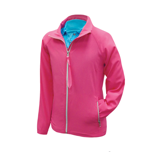April - Girl's Full Zip Pink Jacket With Color Block Back