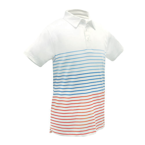 Mike - Youth & Toddler Performance Golf Polo W/ Multi Color Stripes