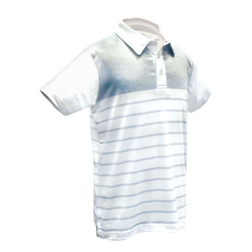Light Blue Striped Boys Golf Polo with Buttons from Garb