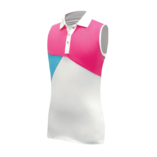 Jane - Girl's Sleeveless Golf Polo W/ Diagonal Color Block