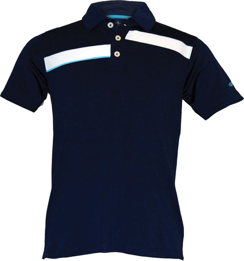 Toddler Boys Junior Golf Navy Blue Polo With Contrasting White Stripes Moisture Wicking Fabric & 4-way Stretch by Garb