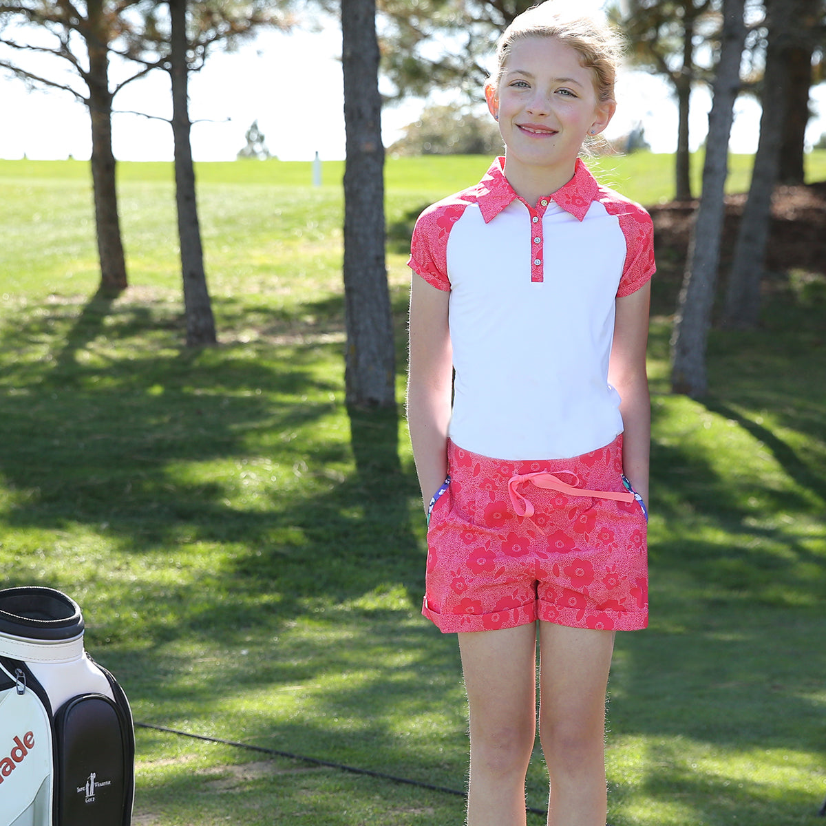 Hazel - Girls Pink Floral Golf Shorts