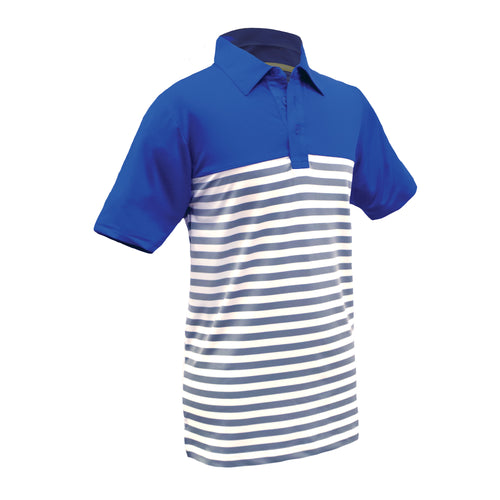 Jason - Boys Performance Royal Blue Striped Yarn Dyed Golf Polo by Garb Junior Golf Apparel