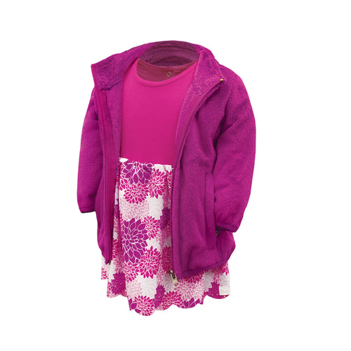 Leslie - Infant Girls Rose Violet Full Zip Plush Jacket by Garb Infant Golf Course Apparel