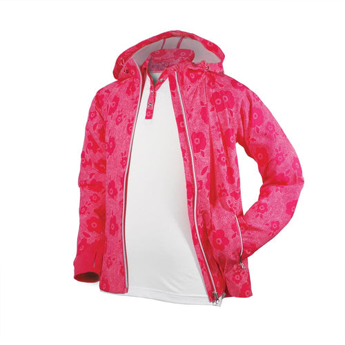Lola - Girls Pink Floral Full Zip Rain Jacket