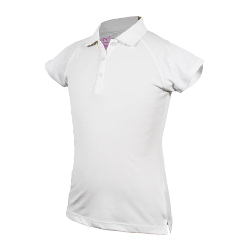 Monica - Girl's Solid White Golf Polo
