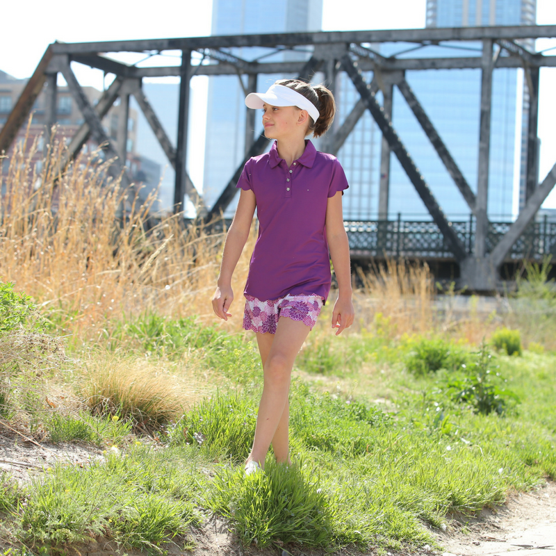 Lifestyle Photo of Violet - Girls Rose Violet Scalloped Edge Golf Polo by Garb Girls Golf Apparel