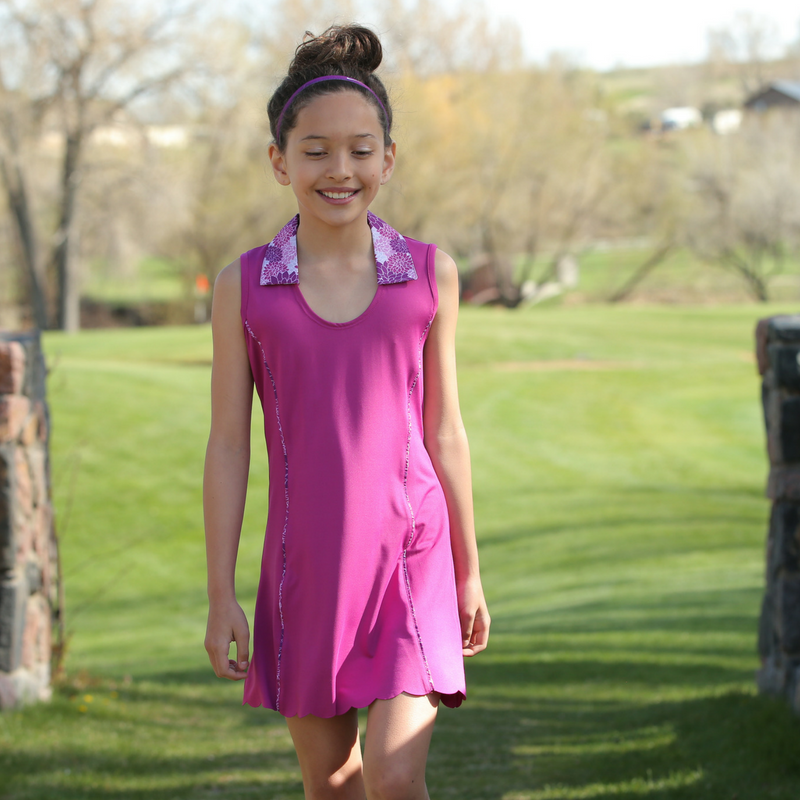 Lifestyle Photo Of Winnie - Girls Sleeveless Golf Polo Dress by Garb Girls Golf Apparel