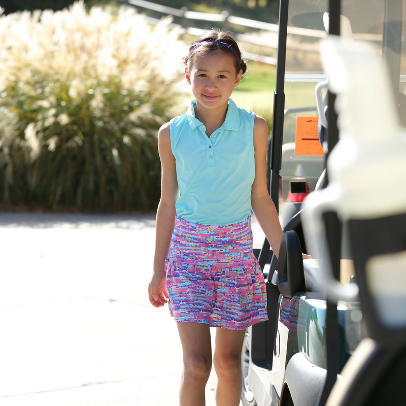 Kelly - Girl's Solid Sleeveless Golf Polo