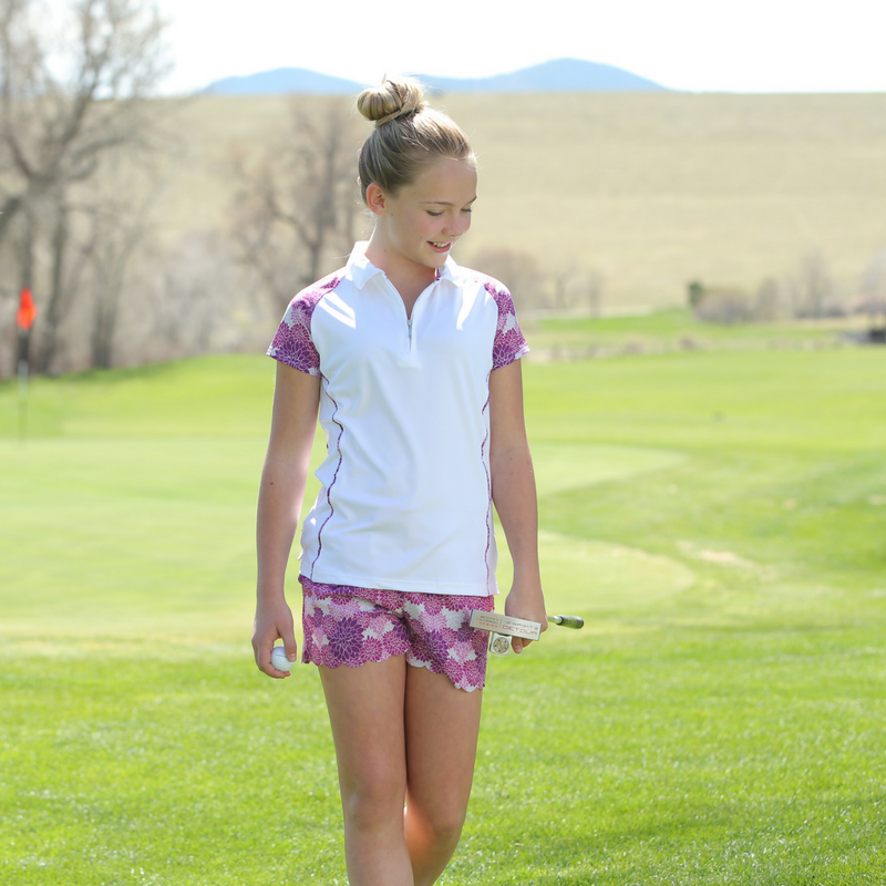 Lifestyle Photo of Whitney - Girls Floral Golf Shorts by Garb Girls Golf Apparel